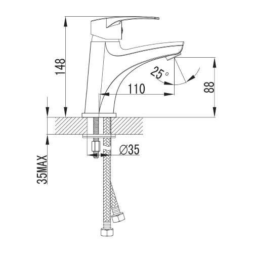 LIDICE смеситель для раковины большой, хром, 35 мм 05095 (M) Imprese