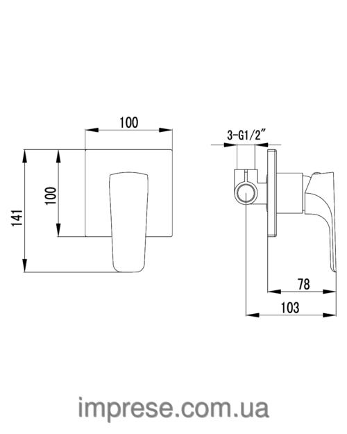 VALTICE смеситель скрытого монтажа для душа VR-15320(Z) IMPRESE