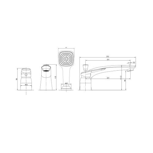 PRAHA new смеситель для ванны, врезной, на три отверстия, хром, 35 мм 85030 new IMPRESE