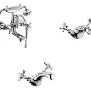 Набор смесителей для ванны IMPRESE Cuthna stribro 10280stribro+40280stribro+05280stribro