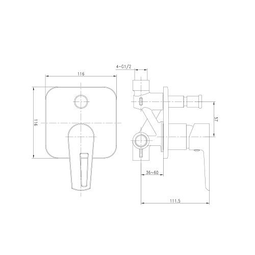 BRECLAV смеситель скрытого монтажа для ванны, хром/белый, 35мм VR-10245WZ IMPRESE