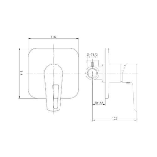 BRECLAV смеситель скрытого монтажа для душа, хром/белый, 35мм VR-15245WZ Imprese