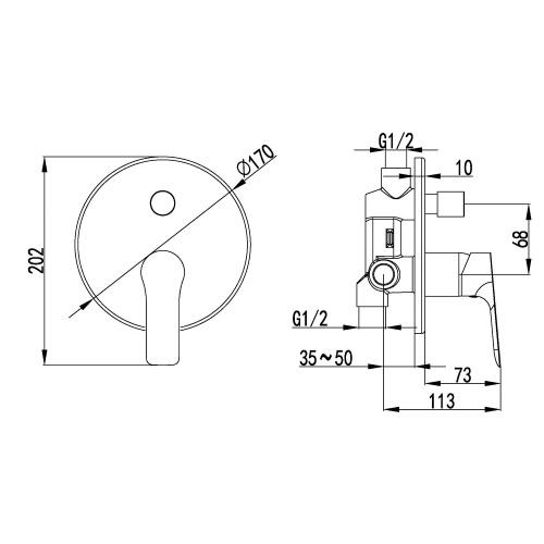 Смеситель скрытого монтажа Imprese Kucera VR-31105