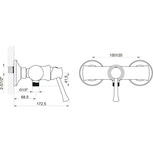 PODZIMU ZRALA смеситель для душа, 35 мм ZMK02170808 IMPRESE