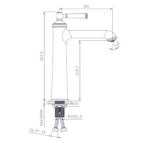 Смеситель для раковины высокий ZMK031806011 HYDRANT никель Imprese