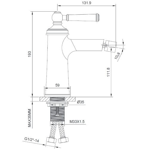 Смеситель для биде ZMK031806070 HYDRANT никель Imprese
