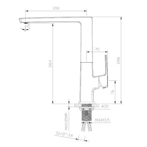 Смеситель для кухни ZMK041807150 GRAFIKY чёрный никель Imprese