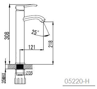 MORAVA смеситель для раковины (высокий),хром, 35мм 05220-H